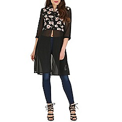 Mela - Black floral contrast shirt dress