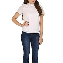 Poppy Lux - White samantha flower tee top