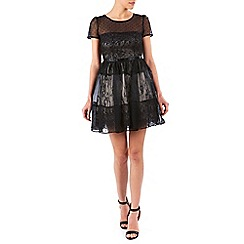 Zibi London - Black organza and satin tiered long dress