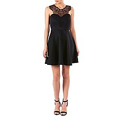 Zibi London - Black lace trim bodice and swing skirt dress