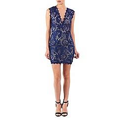 Zibi London - Navy deep v-neck lace dress