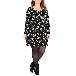 Samya - Black long sleeve flower print dress