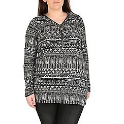 Samya - Black aztec print top with zip detail