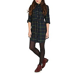 Tenki - Multicoloured belted tartan shirt dress