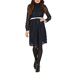 Tenki - Blue full sleeve lace shirt dress