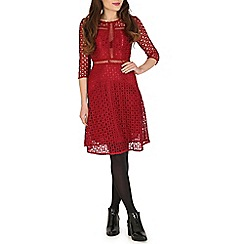 Tenki - Maroon lace dress with 3/4 length sleeves