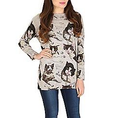 Tenki - Grey full sleeve cat print jumper