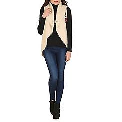 Tenki - Beige collared shawl cardigan