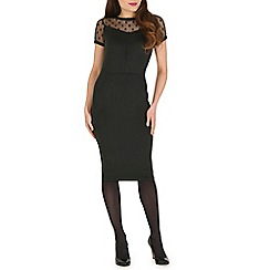 Poppy Lux - Black vivian dot mesh ponte bodycon dress