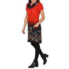 Tenki - Red cowl neck flower print tunic