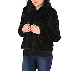 Izabel London - Black faux fur crop jacket