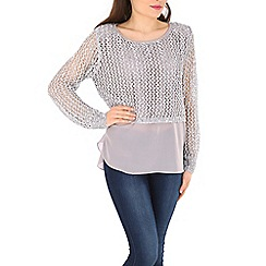 Izabel London - Silver sequin crochet layer jumper