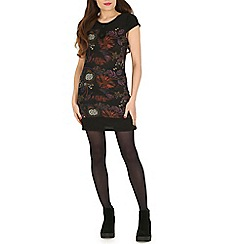 Pussycat London - Black winter garden print tunic with buttonswith