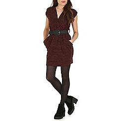 Pussycat London - Brown crossover tunic with pocket and belt