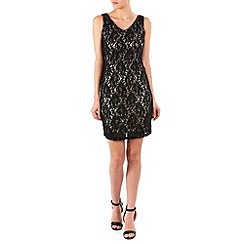 Zibi London - Black sequin lace and satin v neck dress