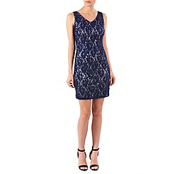 Zibi London - Navy sequin lace and satin v neck dress