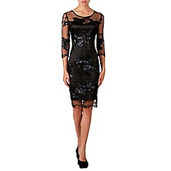 Zibi London - Black sequin lace sleeved shift dress