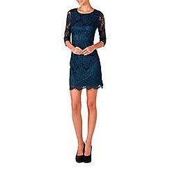 Zibi London - Blue mid length sleeve lace dress