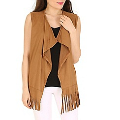 Indulgence - Beige sleeveless fringed cardigan