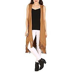 Indulgence - Beige sleeveless fringed long cardigan