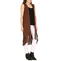 Indulgence - Brown sleeveless fringed long cardigan