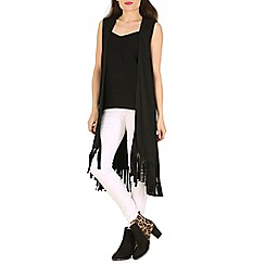 Indulgence - Black sleeveless fringed long cardigan