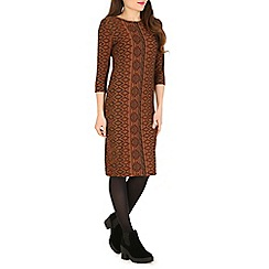 Indulgence - Brown aztec print midi dress