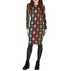 Indulgence - Multicoloured grid print midi dress