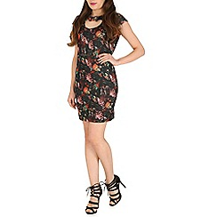 Mela - Black floral print bow bodycon dress