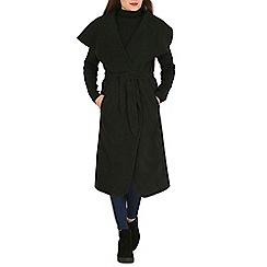 Mela - Black faux suede wrap coat