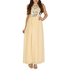 Mela - Cream sequin print maxi dress