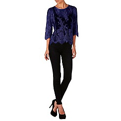 Zibi London - Navy cropped sleeve lace top