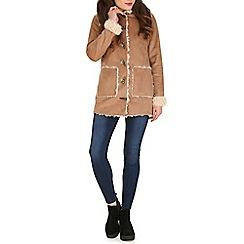 Blue Vanilla - Camel faux sheepskin duffle jacket
