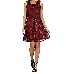 Mela - Maroon lace prom dress