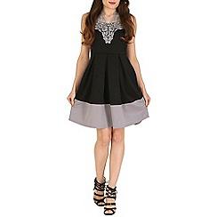 Mela - Black silver lace detail dress