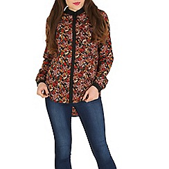 Mela - Dark red floral print shirt