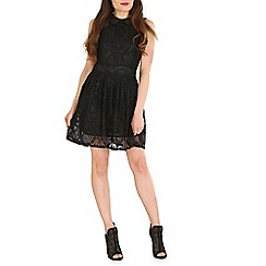 Mela - Black broderie lace collar dress
