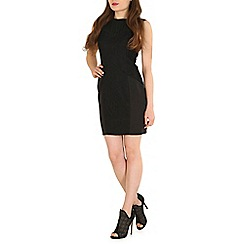 Mela - Black black high neck lace dress