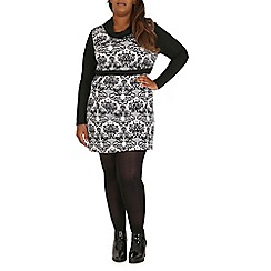 Samya - Black roll neck damask print dress