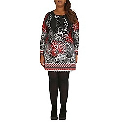Samya - Red floral doodle print mini tunic dress