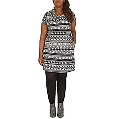 Samya - Grey aztec print knitted dress