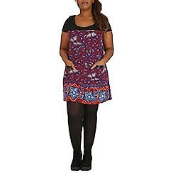 Samya - Maroon printed tunic knitted top