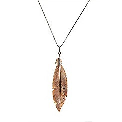Azendi - Gold large feather pendant
