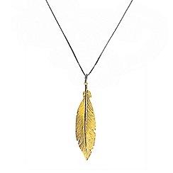 Azendi - Gold large feather pendant