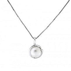 Azendi - Silver spiral set pearl pendant