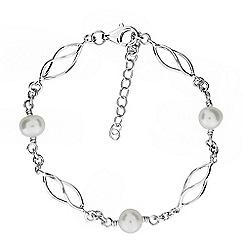 Azendi - Silver freshwater pearl spirals bracelet