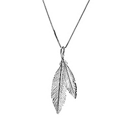 Azendi - Silver twin feather pendant