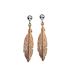 Azendi - Metallic feather earrings
