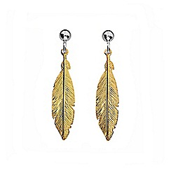 Azendi - Gold feather earrings