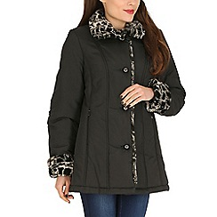David Barry - Black faux fur trim padded jacket